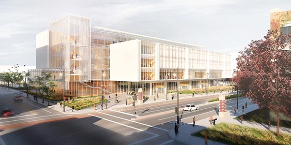 Artist's rendering of the outside of the new Marquette Business building, located on the site of McCormick Hall (16th and Wisconsin)